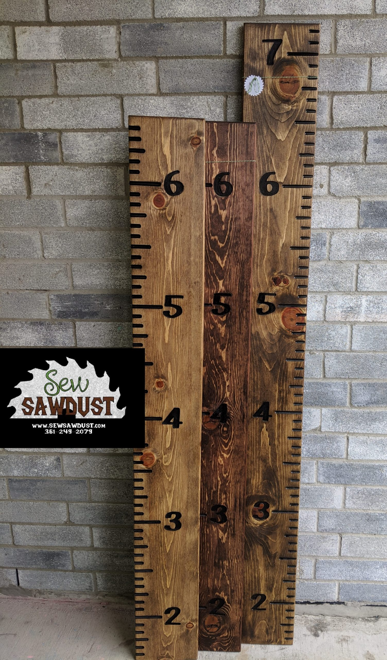 Custom made wooden growth chart, made by sew sawdust