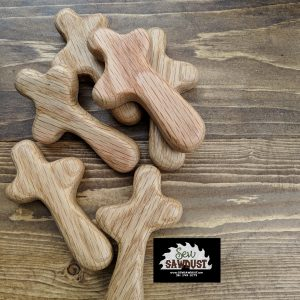 Hand held wooden crosses made out of Red Oak wood. Made by Sew Sawdust