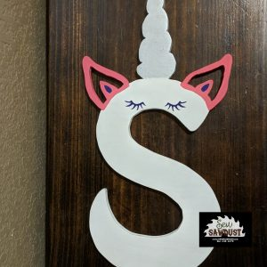 Wooden unicorn letters handmade by sew sawdust