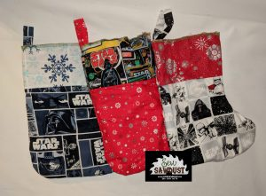 Christmas stockings made with Star Wars fabric, made by sew Sawdust.