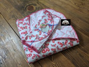 Sew Sawdust makes a flannel baby blanket gift set